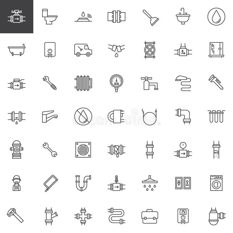 Linea di impianto idraulico icone messe illustrazione vettoriale