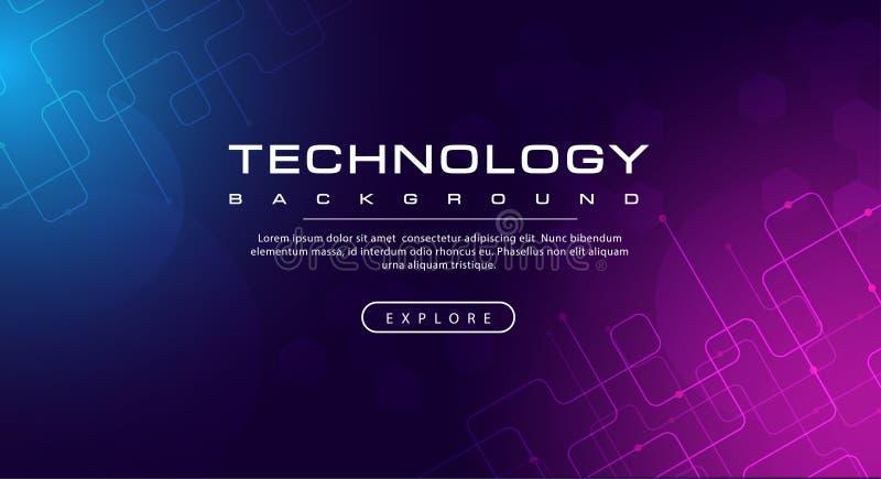 Linea di insegna di tecnologia tecnologia di effetti, concetto blu porpora del fondo con gli effetti della luce illustrazione vettoriale