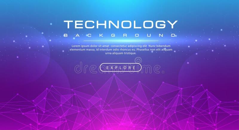 Linea di insegna di tecnologia tecnologia di effetti, concetto blu rosa del fondo con gli effetti della luce illustrazione vettoriale