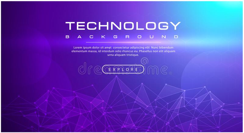 Linea di insegna di tecnologia tecnologia di effetti, concetto porpora del fondo con gli effetti della luce illustrazione di stock