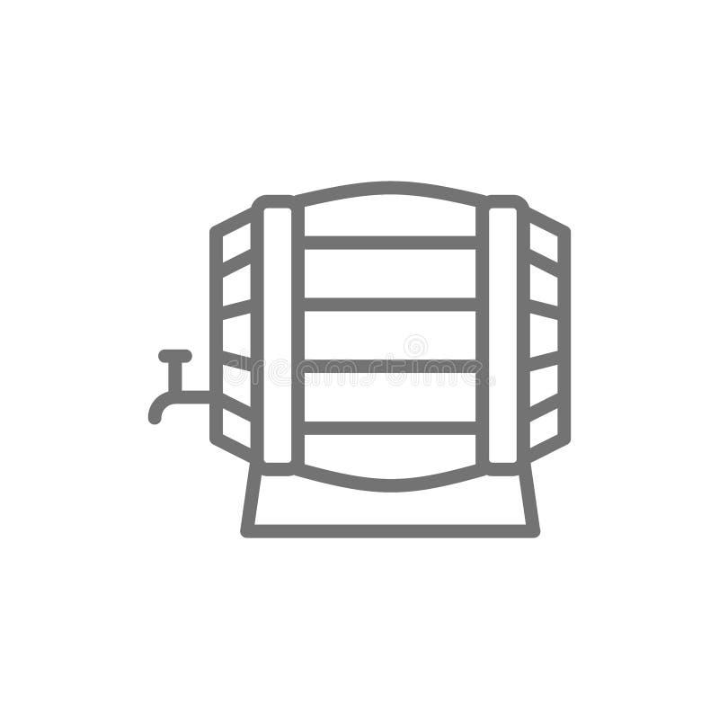 Linea di legno icona del barilotto di vino illustrazione vettoriale