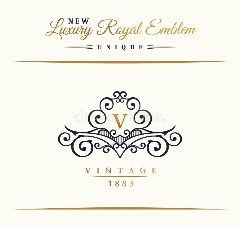 Linea di lusso calligrafica logo Fiorisce il monogramma elegante dell'emblema Progettazione d'annata reale del divisore royalty illustrazione gratis