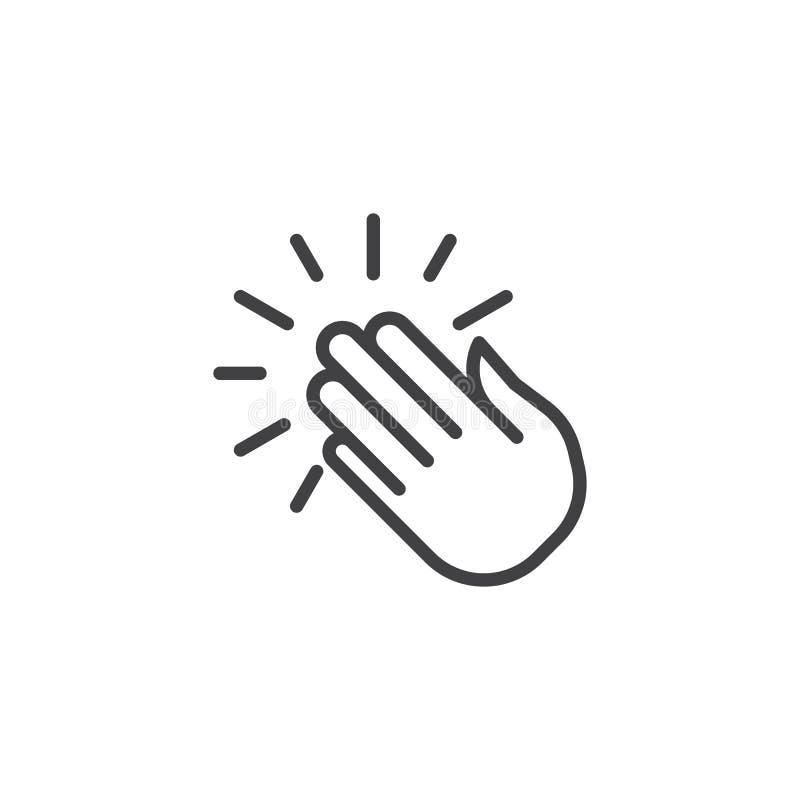 Linea di mani d'applauso icona illustrazione vettoriale