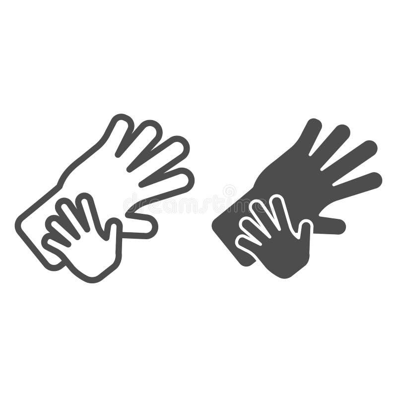 Linea di mani del bambino e dell'adulto ed icona di glifo Illustrazione di vettore della mano del bambino e della madre isolata s royalty illustrazione gratis