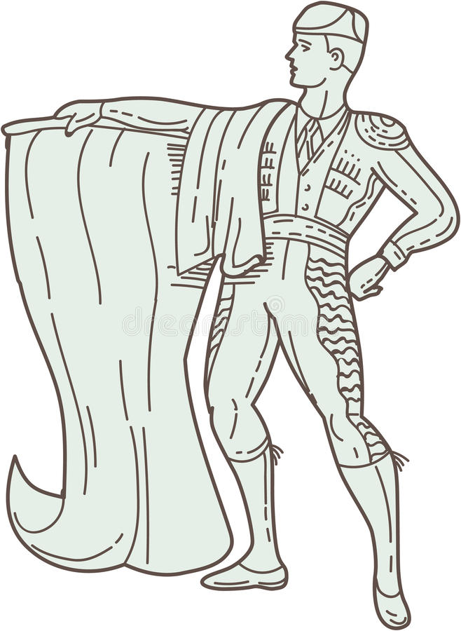 Linea di Matador Cape Standing Mono dello Spagnolo royalty illustrazione gratis