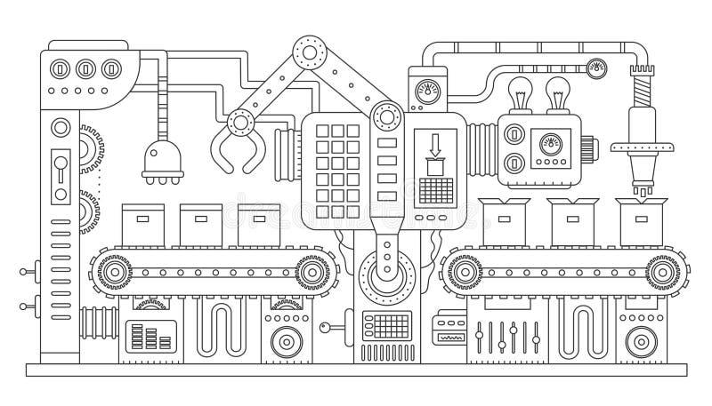 Linea di nastro trasportatore industriale illustrazione di vettore del profilo Produzione a macchina astratta trattata del traspo illustrazione di stock