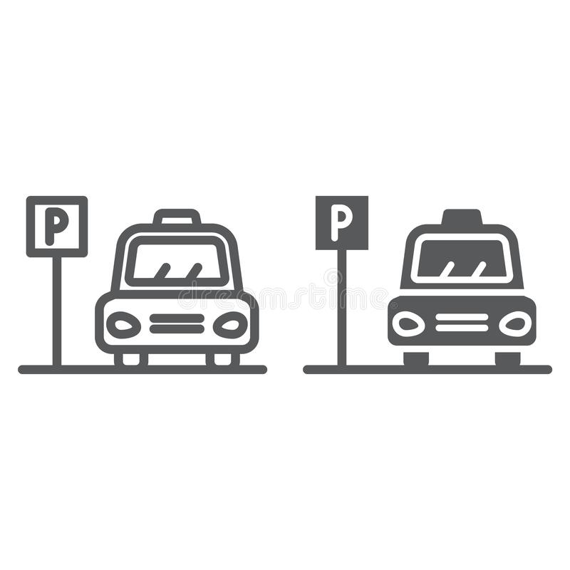 Linea di parcheggio ed icona di glifo, auto e posto, segno di zona dell'automobile, grafica vettoriale, un modello lineare su un  royalty illustrazione gratis