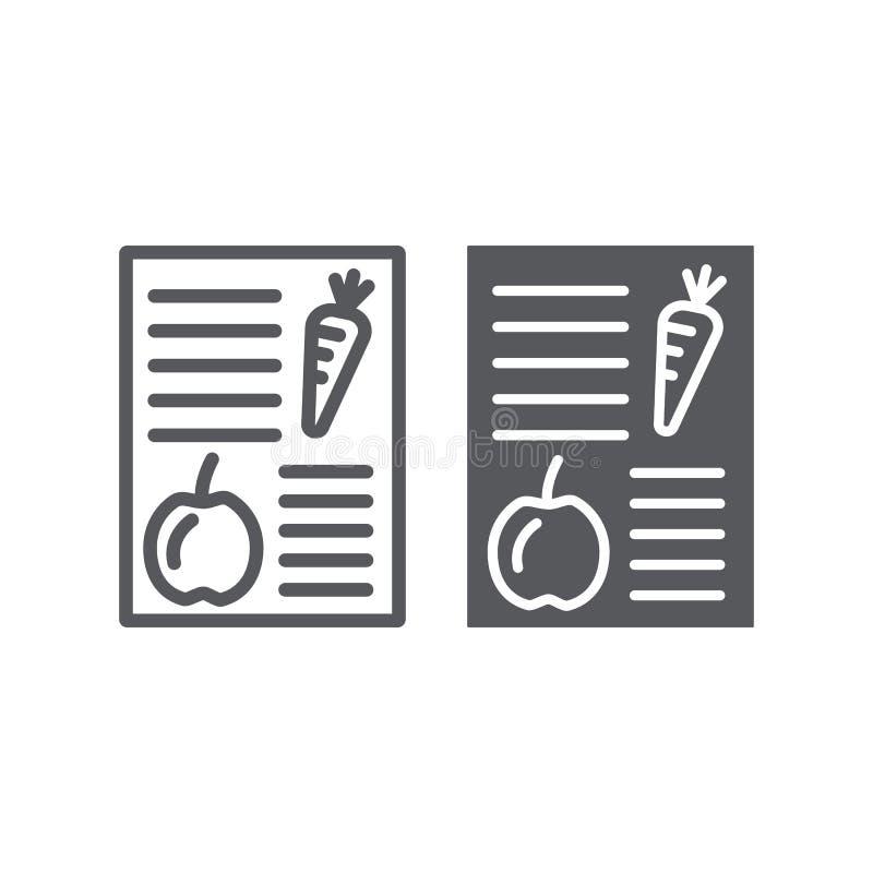 Linea di piano di dieta ed icona di glifo, salute e pasto, segno equilibrato del pasto, grafica vettoriale, un modello lineare su illustrazione di stock