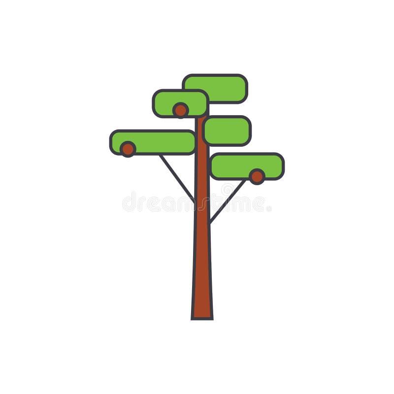 Linea di pino concetto dell'icona Segno piano di vettore del pino, simbolo, illustrazione illustrazione di stock