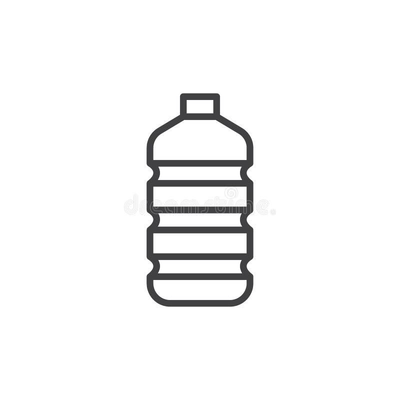 Linea di plastica icona, segno di vettore del profilo, pittogramma lineare della bottiglia di acqua di stile isolato su bianco illustrazione vettoriale