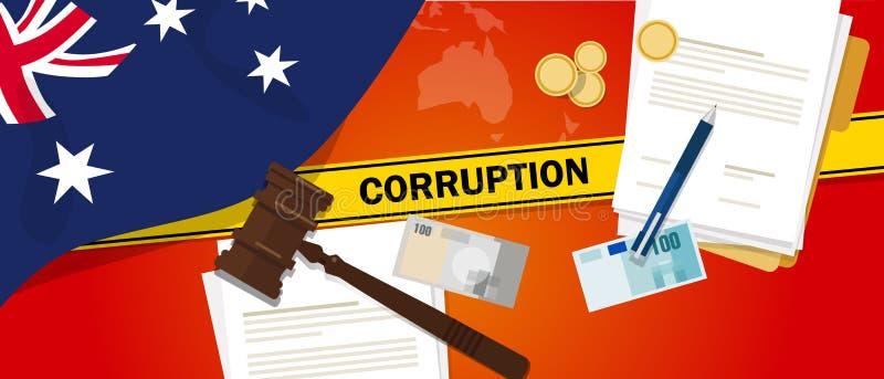 Linea di polizia del contratto di diritto finanziario di corruzione dei soldi di corruzione dell'Australia per un funzionario di  royalty illustrazione gratis