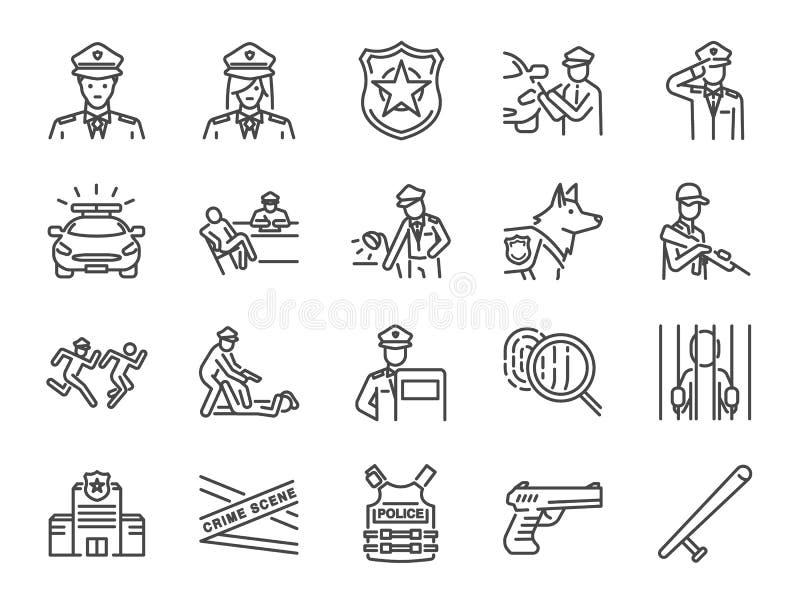 Linea di polizia insieme dell'icona Ha compreso le icone come poliziotto, l'arma, i sospetti, l'arresto, la giustizia e più illustrazione vettoriale