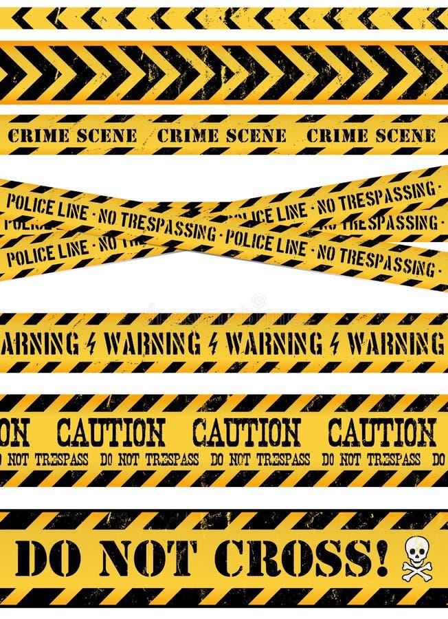 Linea di polizia, scena del crimine e nastri d'avvertimento illustrazione vettoriale