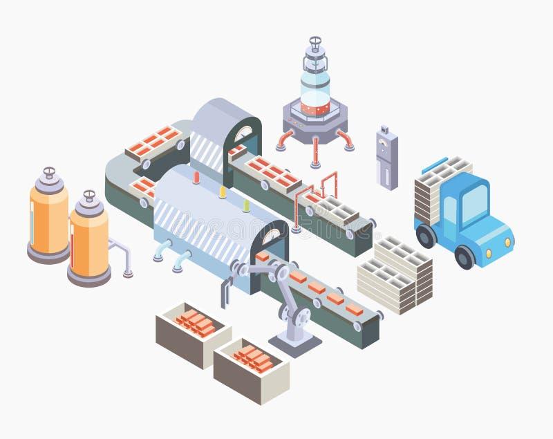 Linea di produzione automatizzata Pavimento della fabbrica con il trasportatore e le varie macchine Illustrazione di vettore nell illustrazione vettoriale