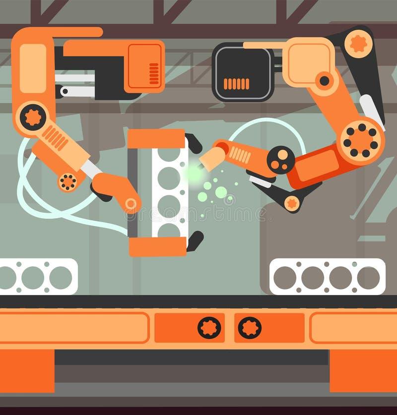 Linea di produzione della catena di montaggio di fabbricazione con il braccio robot Concetto di vettore dell'industria pesante illustrazione vettoriale