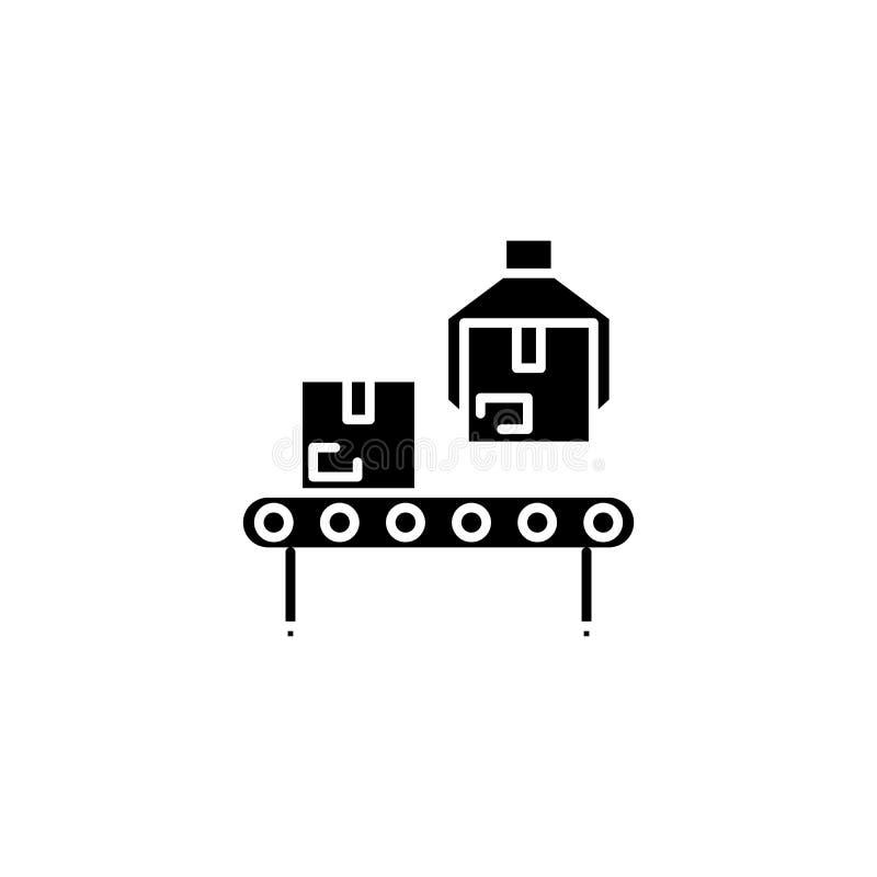 Linea di produzione della fabbrica concetto dell'icona del nero Linea di produzione della fabbrica simbolo piano di vettore, segn illustrazione di stock