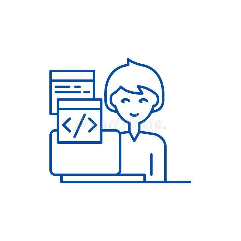Linea di programmazione concetto dell'icona Simbolo piano di programmazione di vettore, segno, illustrazione del profilo illustrazione vettoriale