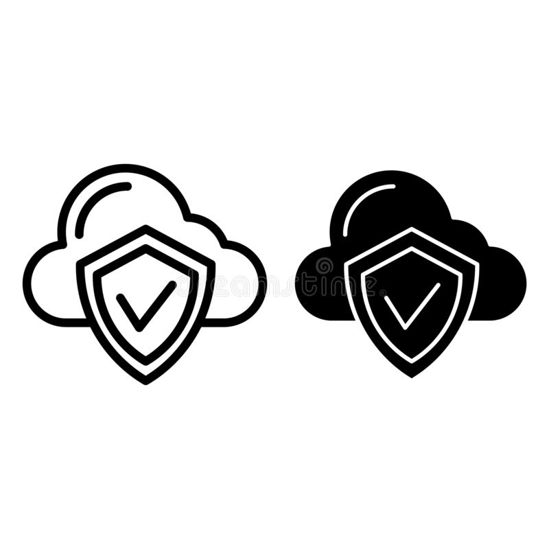 Linea di protezione della nuvola ed icona di glifo Nuvola con l'illustrazione di vettore dello schermo isolata su bianco Profilo  illustrazione di stock