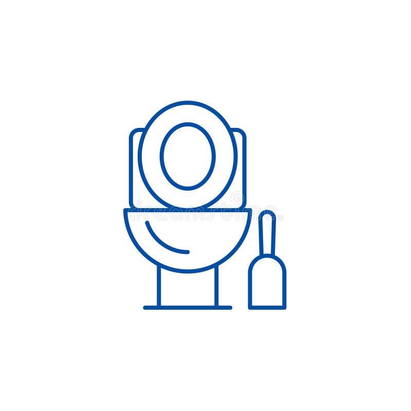 Linea di pulizia concetto della toilette dell'icona Toilette che pulisce simbolo piano di vettore, segno, illustrazione del profi illustrazione vettoriale