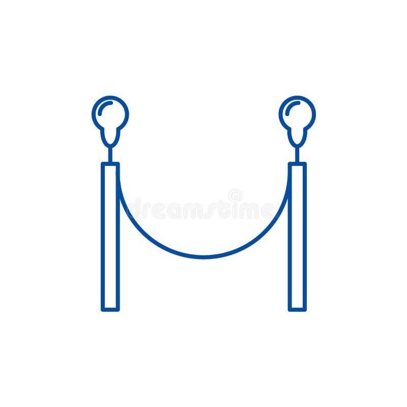 Linea di recinzione del tappeto rosso concetto dell'icona Simbolo piano di vettore del recinto del tappeto rosso, segno, illustra illustrazione vettoriale