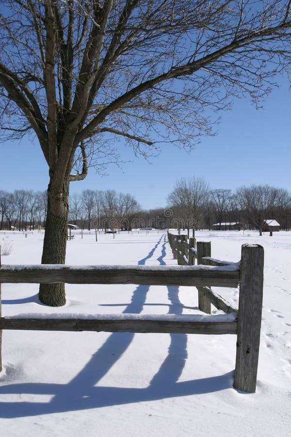 Linea di recinzione di inverno immagine stock