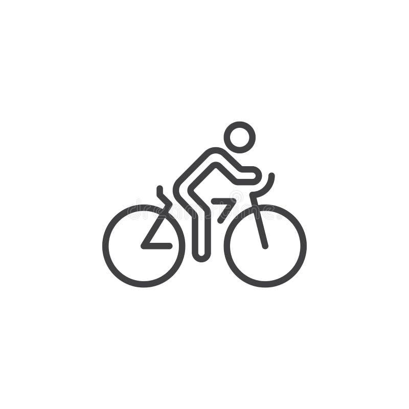 Linea di riciclaggio icona, segno di vettore del profilo della bicicletta, pittogramma lineare isolato su bianco illustrazione vettoriale