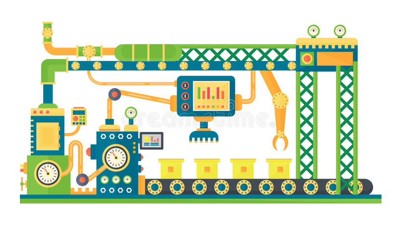 Linea di riserva automatica macchina di industriale di tecnologia dei robot Illustrazione di vettore illustrazione vettoriale