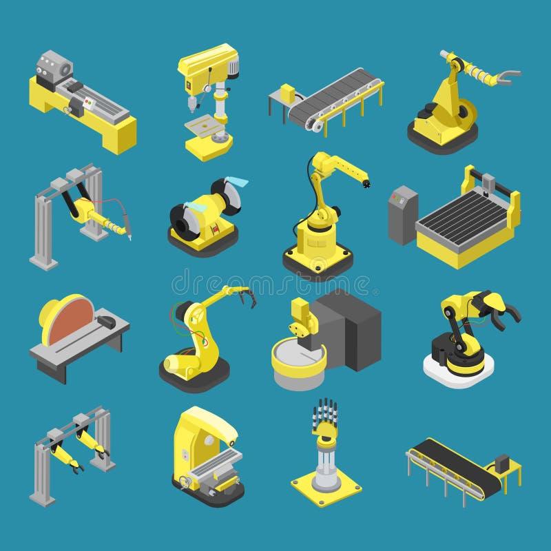 Linea di robotica del macchinario dell'industria pesante vettore isometrico piano 3d royalty illustrazione gratis