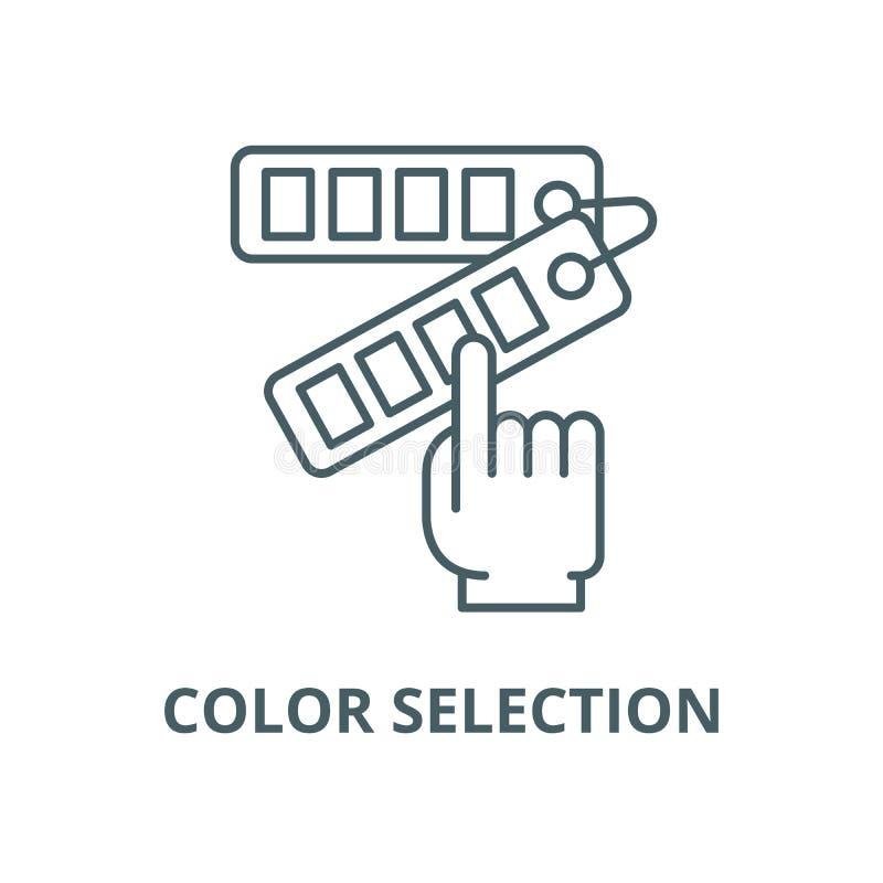 Linea di selezione di colore icona, vettore Segno del profilo di selezione di colore, simbolo di concetto, illustrazione piana illustrazione di stock