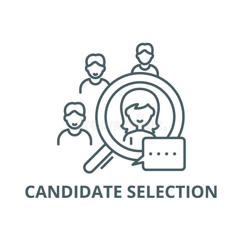 Linea di selezione del candidato icona, vettore Segno del profilo di selezione del candidato, simbolo di concetto, illustrazione  royalty illustrazione gratis