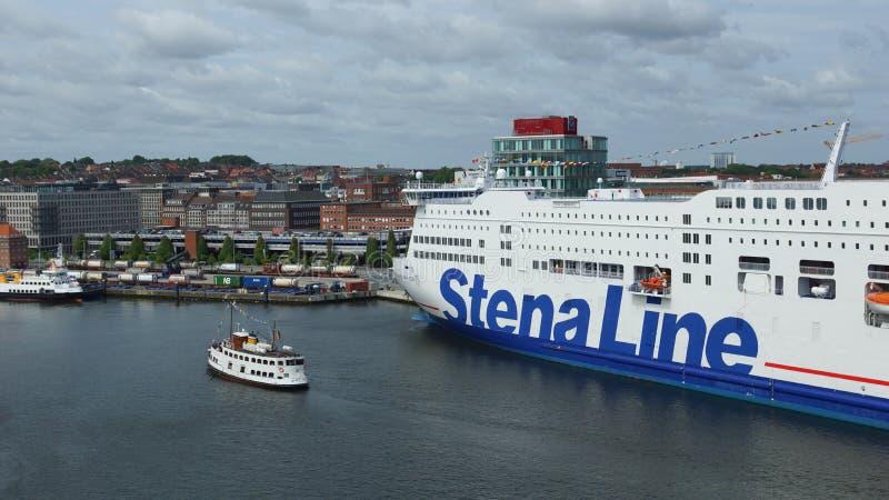 Linea di Stena situata in porto di Kiel - la Germania immagini stock