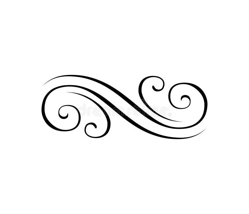 Linea di Swirly, eleent ornamentale a filigrana Confine dell'incisione Elementi calligrafici di disegno, decorazione della pagina royalty illustrazione gratis