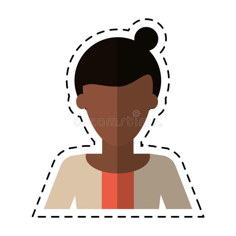 Linea di taglio casuale del maglione dei capelli del panino della donna di afro illustrazione di stock