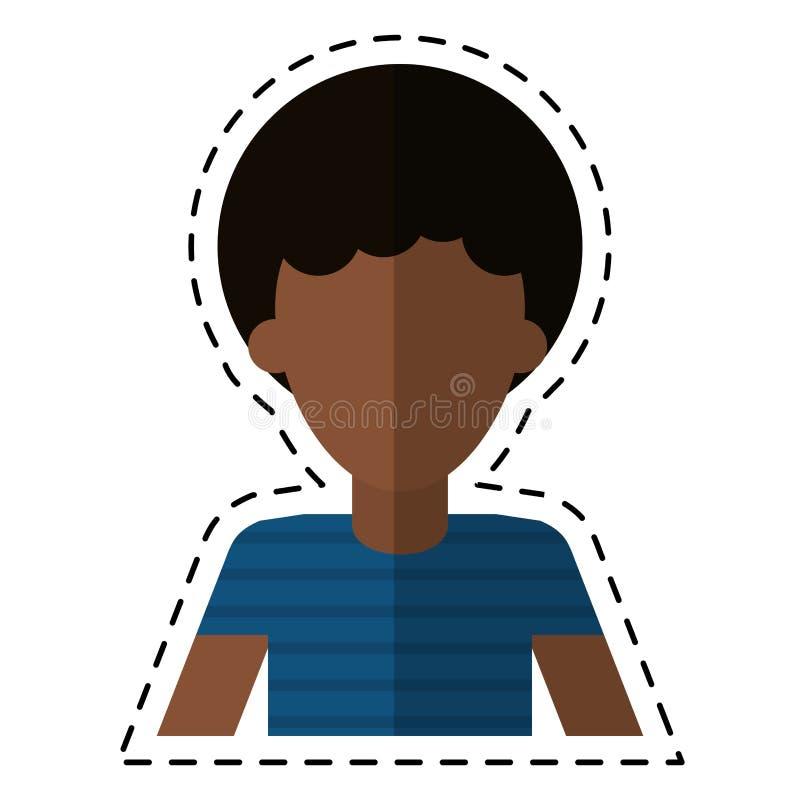 Linea di taglio della maglietta dei capelli ricci dell'uomo di afro giovane royalty illustrazione gratis