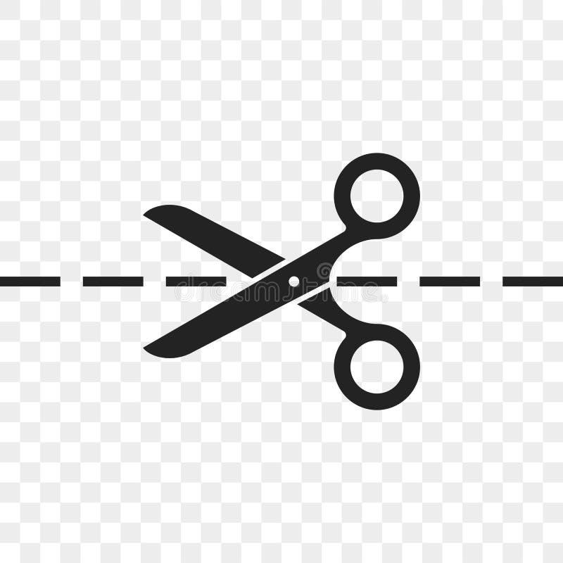 Linea di taglio di forbici icona di vettore illustrazione di stock