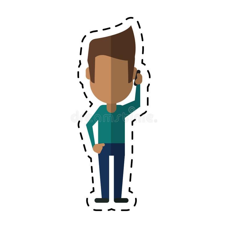 Linea di taglio mobile di conversazione dello smartphone della gente illustrazione vettoriale