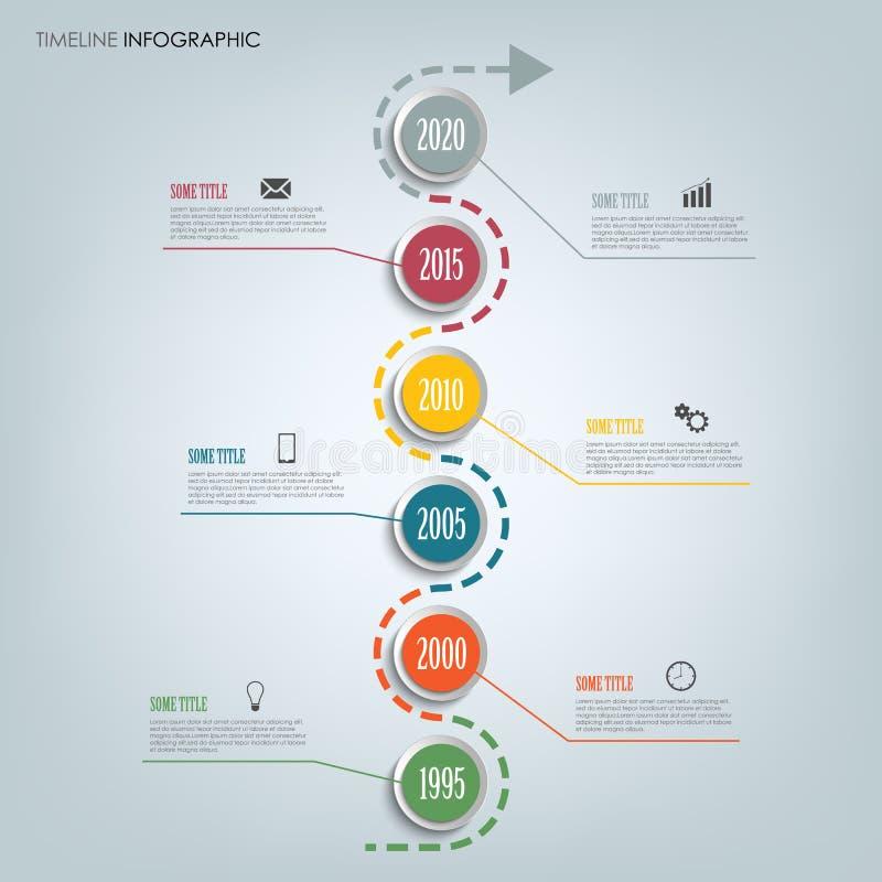 Linea di tempo grafico di informazioni con i puntatori rotondi in una fila illustrazione di stock