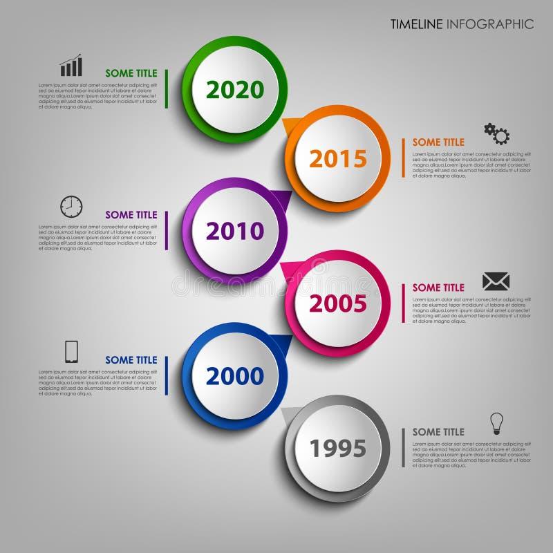 Linea di tempo grafico di informazioni con il puntatore rotondo di progettazione variopinta royalty illustrazione gratis