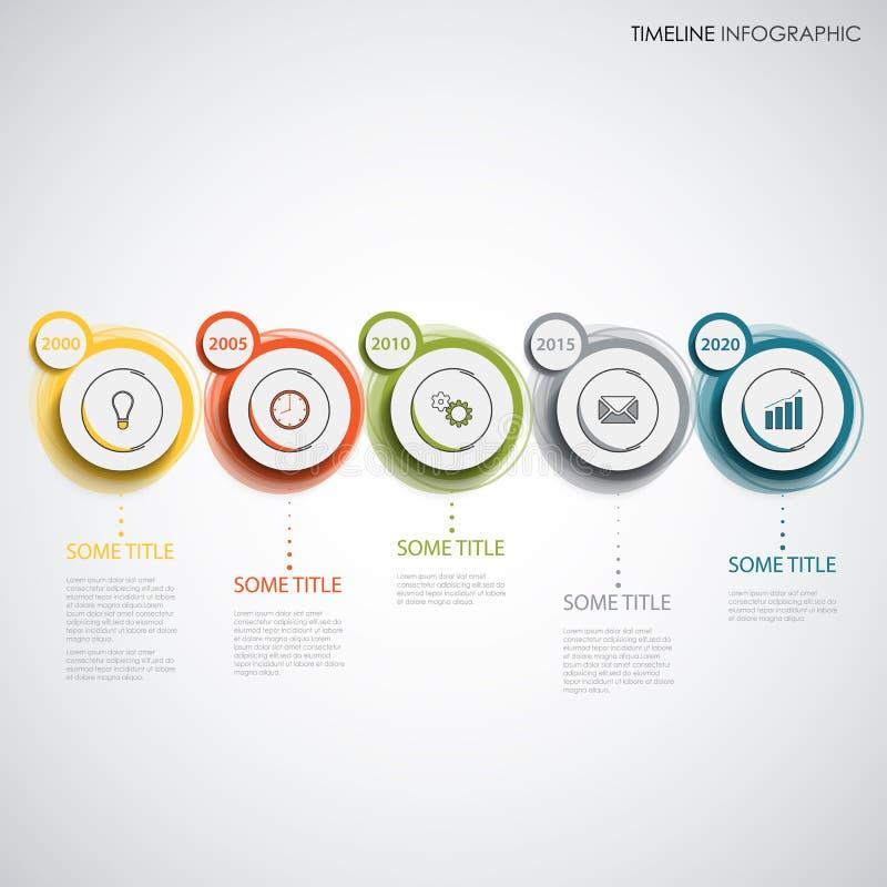 Linea di tempo grafico di informazioni con i cerchi astratti variopinti di progettazione illustrazione vettoriale
