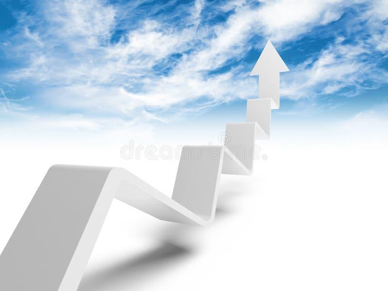 Linea di tendenza rotta con la freccia sull'estremità che va su al cielo illustrazione di stock