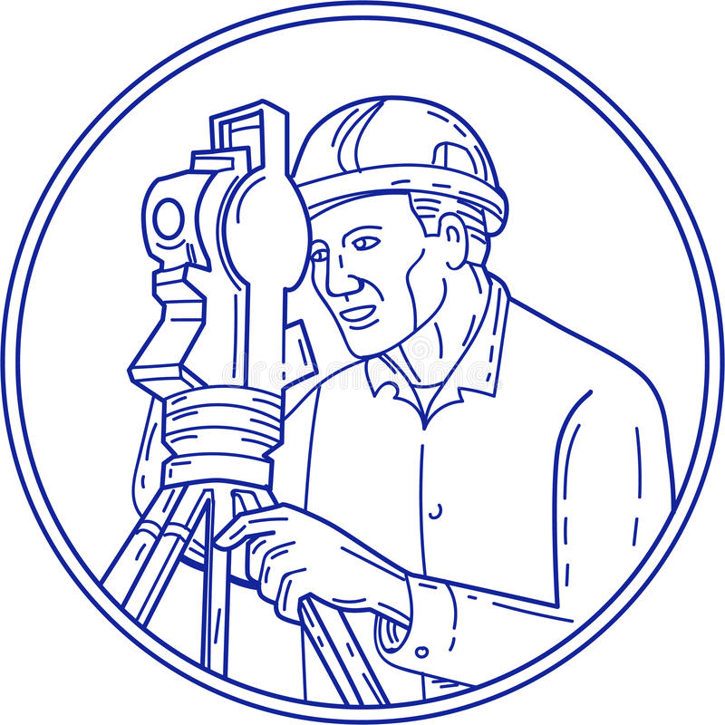 Linea di Theodolite Circle Mono dell'ispettore royalty illustrazione gratis
