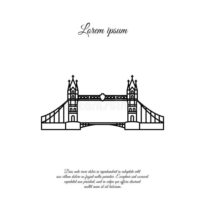 Linea di vettore del ponte di Londra, icona lineare, segno illustrazione vettoriale