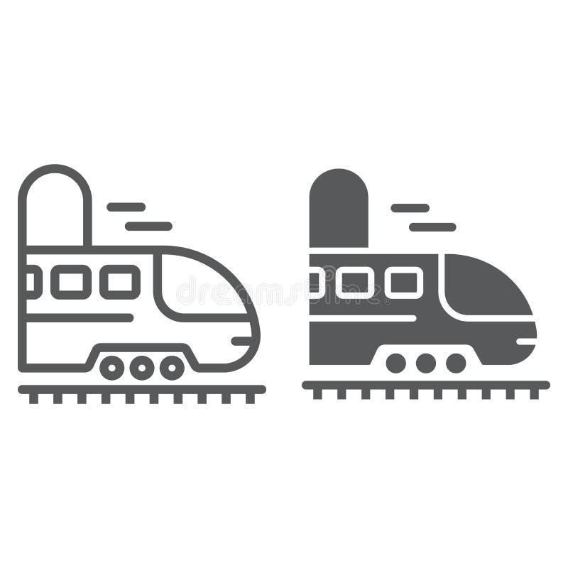 Linea di viaggio della ferrovia ed icona di glifo, viaggio e turismo, sottopassaggio nella grafica vettoriale del segno del tunne illustrazione vettoriale
