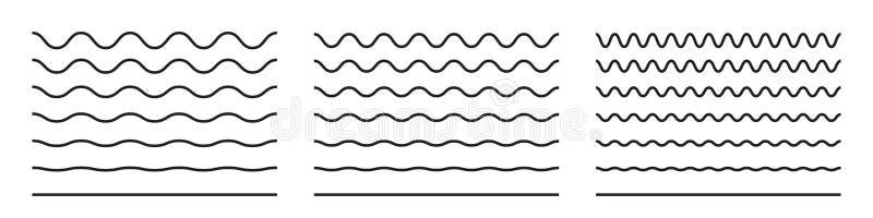 Linea di Wave e linee ondulate del modello di zigzag Sottolineature del nero di vettore, scarabocchi curvy deformati di conclusio royalty illustrazione gratis