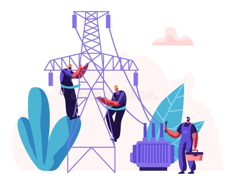 Linea di Workers Repairing Power dell'elettricista Concetto elettrico delle facilità con il riparatore Engineer in uniforme a fis illustrazione vettoriale