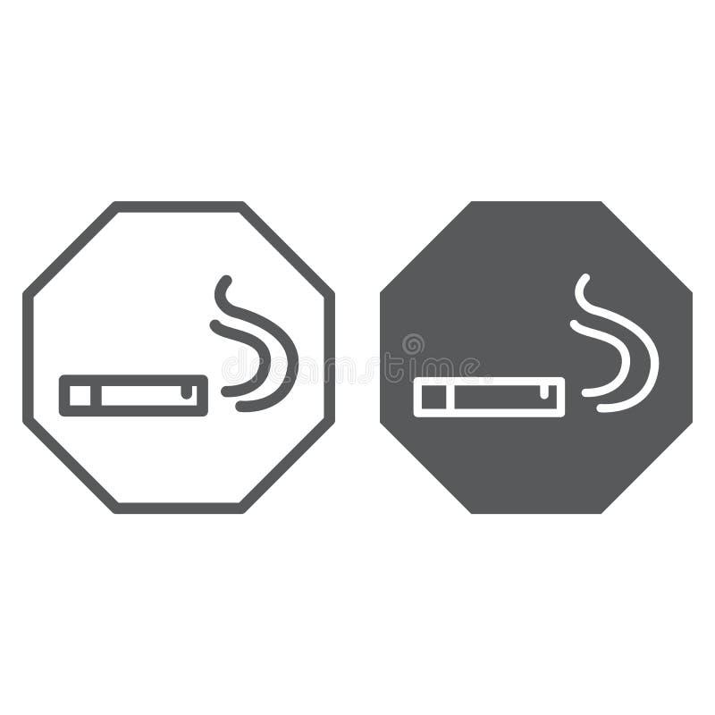 Linea di zona fumatori ed icona di glifo, fumo e sigaro, segno della sigaretta, grafica vettoriale, un modello lineare illustrazione di stock