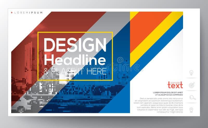 Linea diagonale rossa e blu modello della fascia della disposizione di progettazione moderna illustrazione vettoriale