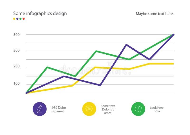 Linea diagramma di Infographic o progettazione del grafico con le percentuali Utile per la presentazione, il web design o la pubb illustrazione di stock