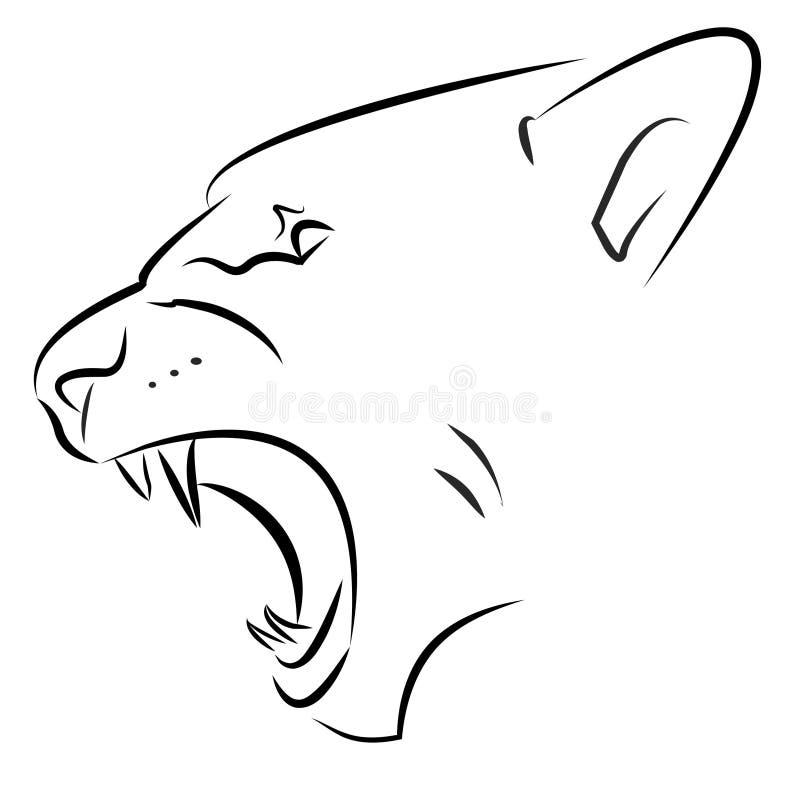 Linea dinamica semplice Logo Illustration della leonessa illustrazione vettoriale