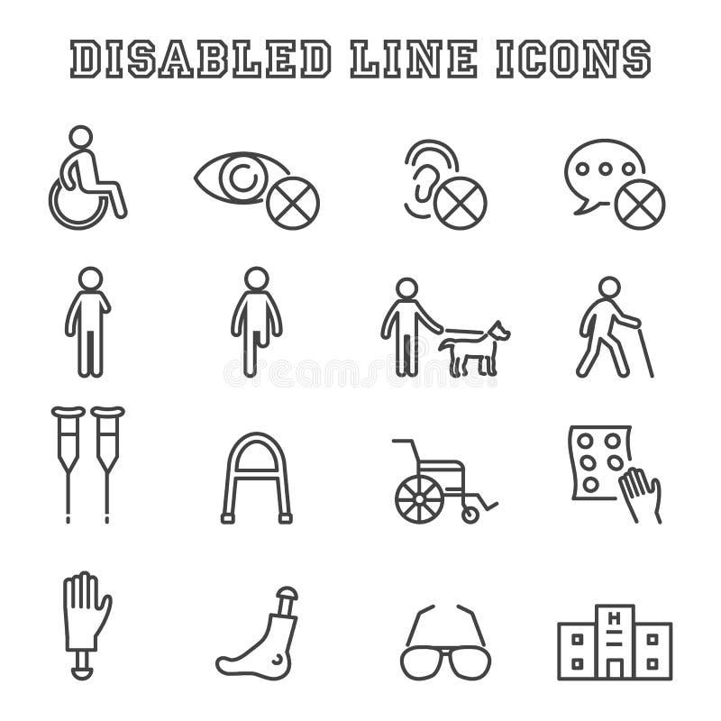 Linea disabile icone illustrazione vettoriale